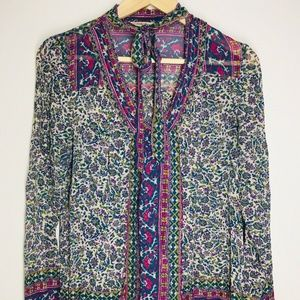 Lucky Brand Patterned Blouse Tie Neck Sheer Top